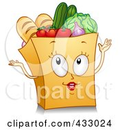 Royalty Free RF Clipart Illustration Of A Grocery Bag Character Gesturing by BNP Design Studio