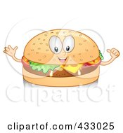 Royalty Free RF Clipart Illustration Of A Cheeseburger Character Gesturing by BNP Design Studio