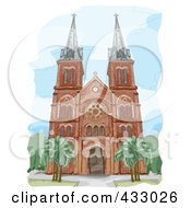 Royalty Free RF Clipart Illustration Of A Sketch Of A Cathedral