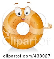 Royalty Free RF Clipart Illustration Of A Bagel Character Gesturing by BNP Design Studio