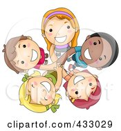Royalty Free RF Clipart Illustration Of A Group Of Diverse Kids Looking Up