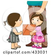 Royalty Free RF Clipart Illustration Of A Girl Giving A Box Of Stuff To A Needy Girl by BNP Design Studio