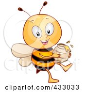 Royalty Free RF Clipart Illustration Of A Happy Honey Bee With A Jar Of Honey by BNP Design Studio
