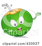 Royalty Free RF Clipart Illustration Of A Gesturing Coconut Character