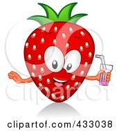 Royalty Free RF Clipart Illustration Of A Strawberry Character Holding A Glass Of Juice
