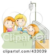 Royalty Free RF Clipart Illustration Of Girls Visiting A Friend In The Hospital