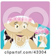 Clipart Illustration Of A Mexican Bride Woman Holding Flowers