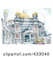 Sketch Of The Mosque In Brunei Over Blue