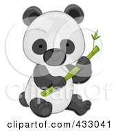 Royalty Free RF Clipart Illustration Of A Cute Baby Panda With Bamboo