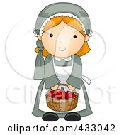 Royalty Free RF Clipart Illustration Of A Pilgrim Gilr by BNP Design Studio