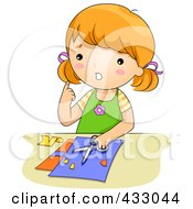 Royalty Free RF Clipart Illustration Of A Girl With A Cut From Scissors