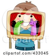 Royalty Free RF Clipart Illustration Of A Girl Playing With Puppets by BNP Design Studio