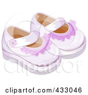 Royalty Free RF Clipart Illustration Of A Pair Of Pink Girl Baby Shoes by BNP Design Studio