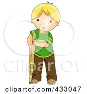 Sad Blond Boy Using A Crutch