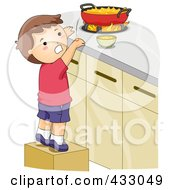 Royalty Free RF Clipart Illustration Of A Boy Burning His Hand While Reaching For Food On A Stove