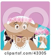 Clipart Illustration Of A Hispanic Bride Woman Holding Flowers