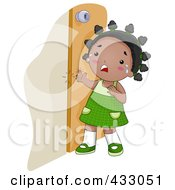 Royalty Free RF Clipart Illustration Of A Black Girl Crying Because She Shut Her Finger In A Door