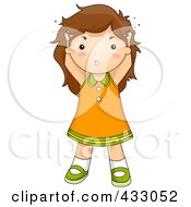 Royalty Free RF Clipart Illustration Of A Girl Sctraching Her Hair