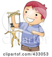 Royalty Free RF Clipart Illustration Of A Boy Playing With A Puppet by BNP Design Studio