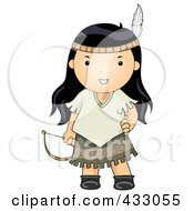 Royalty Free RF Clipart Illustration Of A Native American Girl