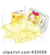 Royalty Free RF Clipart Illustration Of A Sick Girl Taking Her Temperature In Bed