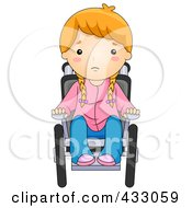 Royalty Free RF Clipart Illustration Of A Sick Girl In A Wheelchair