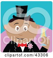Clipart Illustration Of A Hispanic Groom Man Holding A Glass Of Champagne