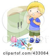 Royalty Free RF Clipart Illustration Of A Boy With Scratches After Knocking Over A Lamp
