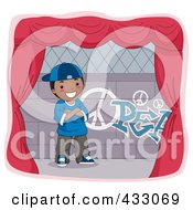 Royalty Free RF Clipart Illustration Of A Boy Standing By Graffiti On A Stage