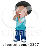 Royalty Free RF Clipart Illustration Of A Black Boy Crying Because Of A Tooth Ache