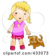 Royalty Free RF Clipart Illustration Of A Dog Biting A Girl by BNP Design Studio