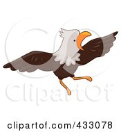 Royalty Free RF Clipart Illustration Of A Bald Eagle Flying by BNP Design Studio