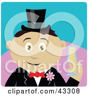 Clipart Illustration Of A Mexican Groom Man Holding A Glass Of Champagne