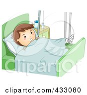 Royalty Free RF Clipart Illustration Of A Sick Boy With A Broken Leg In A Hospital Bed