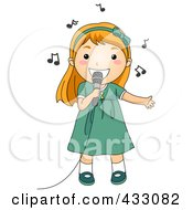 Royalty Free RF Clipart Illustration Of A Girl Singing Into A Microphone