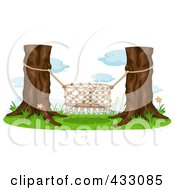 Royalty Free RF Clipart Illustration Of A Hammock Suspended Between Two Mature Trees by BNP Design Studio