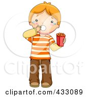 Royalty Free RF Clipart Illustration Of A Boy Breaking Out In Hives After Eating Something Hes Allergic To by BNP Design Studio