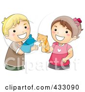 Royalty Free RF Clipart Illustration Of A Boy And Girl Playing With Animal Puppets