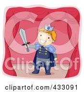 Royalty Free RF Clipart Illustration Of A Boy Acting As A Prince On A Stage