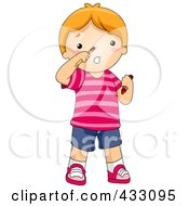 Royalty Free RF Clipart Illustration Of A Boy With A Pencil Stuck Up His Nose by BNP Design Studio