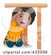 Royalty Free RF Clipart Illustration Of A Black Boy Hitting His Head Under A Table by BNP Design Studio