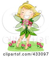 Royalty Free RF Clipart Illustration Of A Happy Spring Fairy Holding Flowers