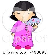 Royalty Free RF Clipart Illustration Of A Chinese Girl Holding A Fan