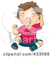 Royalty Free RF Clipart Illustration Of A Boy Crying And Throwing A Temper Tantrum by BNP Design Studio