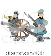 Civil War Soldiers Holding A Loaded Rifle And Playing A Bugler Horn Beside A Cannon On The Battlefield
