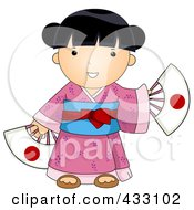 Royalty Free RF Clipart Illustration Of A Japanese Girl