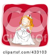 Royalty Free RF Clipart Illustration Of A Girl Acting As A Princess On Stage