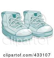 Royalty Free RF Clipart Illustration Of A Pair Of Blue Boys Baby Shoes 1 by BNP Design Studio