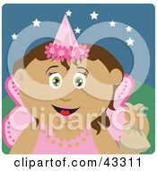 Latin American Girl Trick Or Treating On Halloween In A Fairy Princess Costume