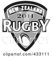 Royalty Free RF Clipart Illustration Of A Rugby New Zealand 2011 Icon 2